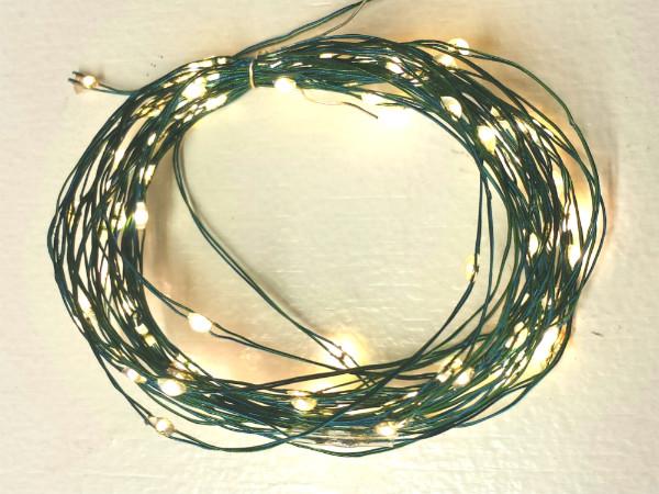 100 Fairy Light LEDs on Green Ultra-Flex Wire