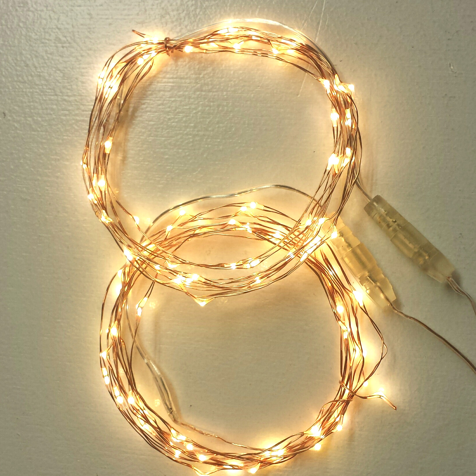 100 LEDs on two 50 LED Copper Wire String Lights