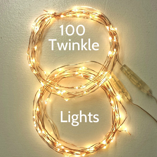 100 Twinkle Lights on Two 17-ft Copper Wires