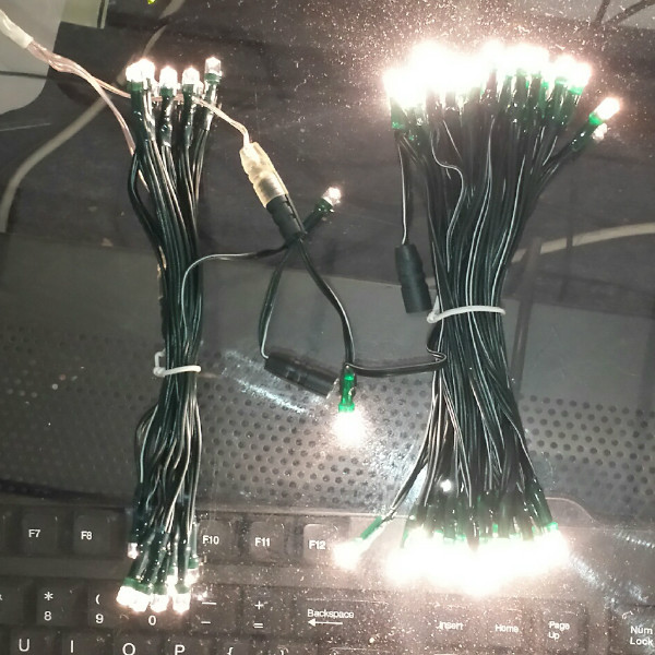 Warm White LEDs on Clear or Green Wire