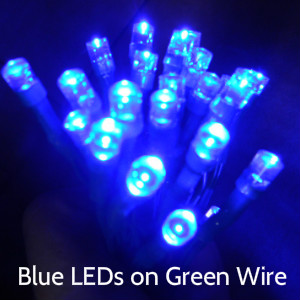 Blue LEDs on Green Wire