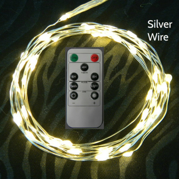50 Warm White Fairy Lights on Silver Wire