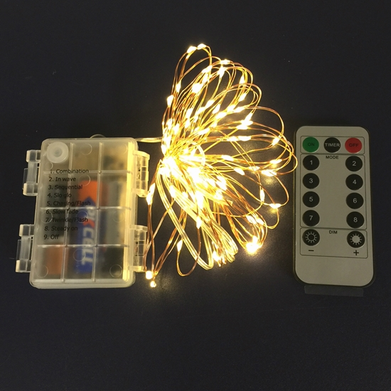 100 Led Copper Wire Lights With Timer On Waterproof Aa