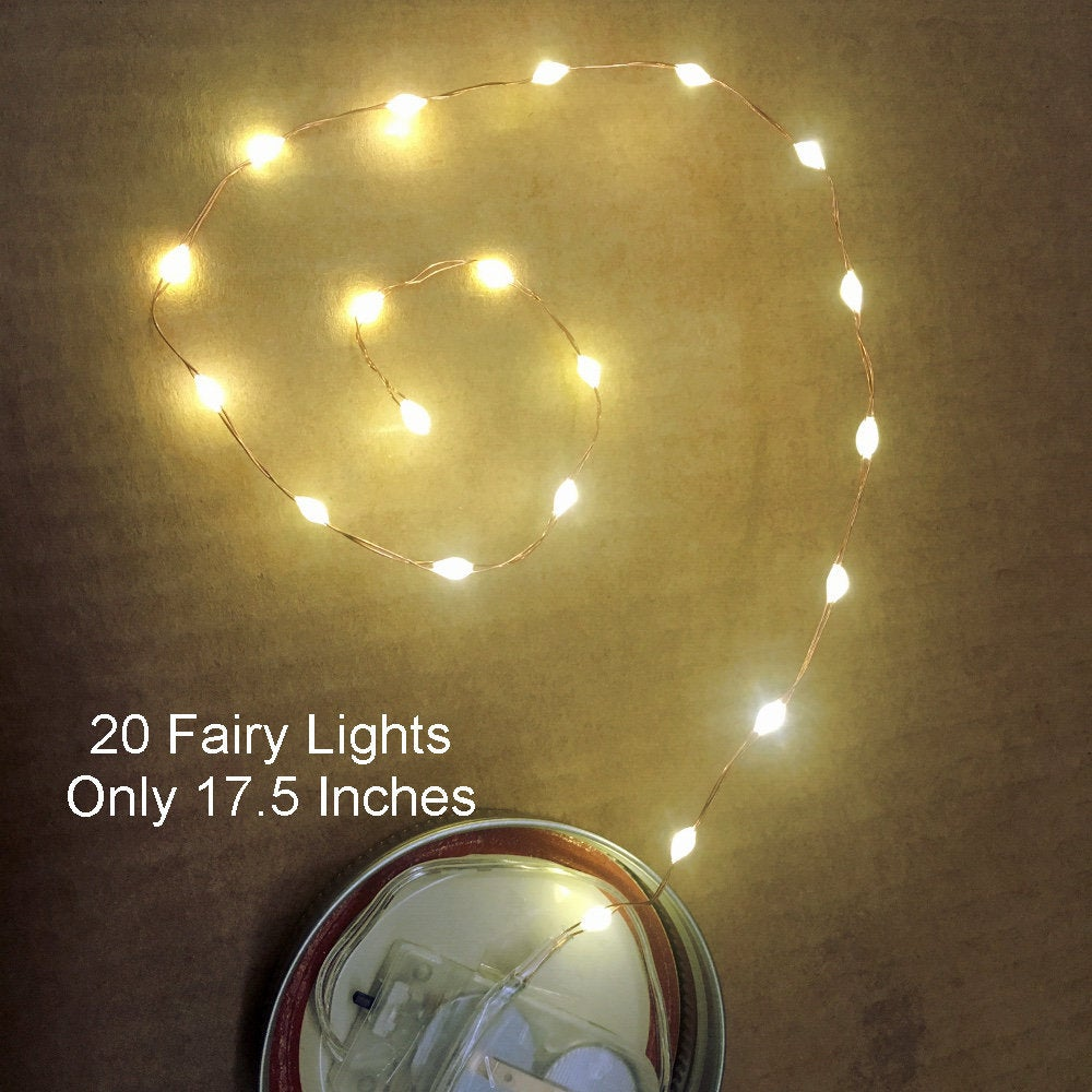 20 Warm White Fairy Light LEDs on 17.5-inch silver wire