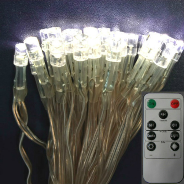 50 Bright Warm White LEDs on Clear Wire String Lights